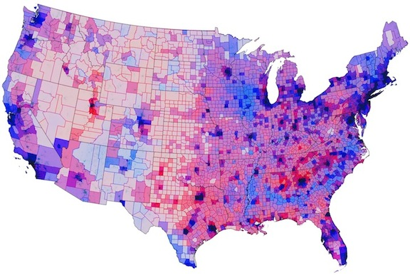 Election results mediated by population density