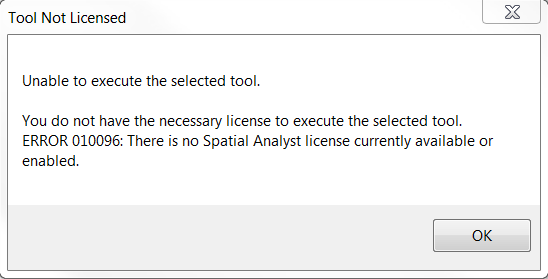 "ArcGIS for Desktop – ""Tool not licensed"" error 